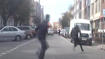 Policjanci z drogówki w pościgu za złodziejem [WIDEO]